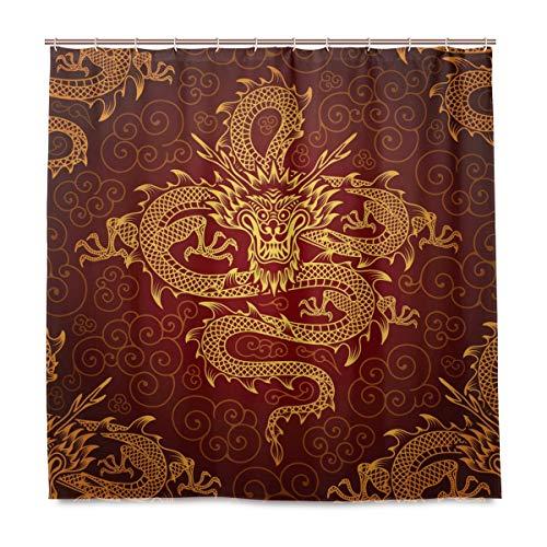 BIGJOKE Duschvorhang, chinesischer Drache, schimmelresistent, wasserdicht, Polyester, 12 Haken, 182,9 x 182,9 cm, Heimdekoration
