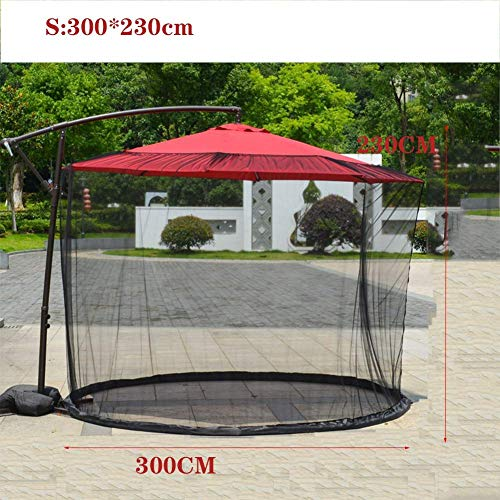 Nfudishpu Patio Umbrella Mosquito Netting, Polyester Mesh Screen with Zipper Opening and Water Tube at Base to Hold in Place-Umbrella Net Cover Screen, S