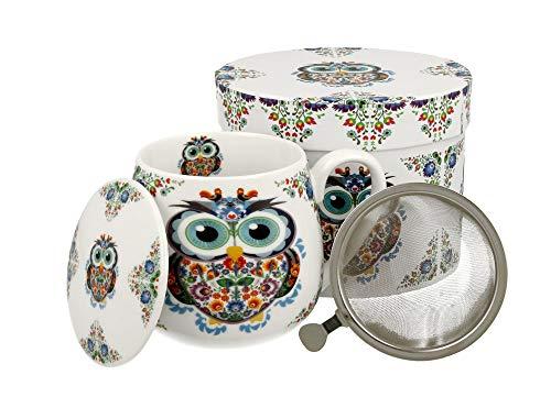 Tee-Tasse Teebecher Set mit Teesieb (Edelstahl) und Deckel Porzellan Teetasse bauchig mit Sieb Geschenk-Tasse Blumen Cup with tea infuser 400 ml von DUO in Geschenkbox Becher Kräuter-Teetasse (Eule)
