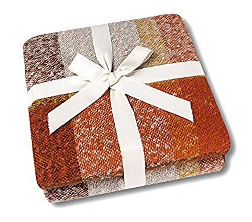 """CozzyLife Home Decorations Super Soft Vintage Fluffy Plaid Throw Blanket-100% Acrylic Cashmere-Like- Bedspread Picnic Tailgate Stadium RV Camping Blanket Throw with Fringe,50"""" W x 67"""" L (Orange)"""