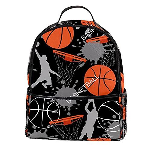 KAMEARI Mochila para escuela niño jugando baloncesto casual mochila para viaje con bolsillos laterales para botella