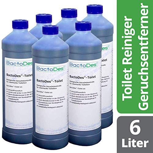 BactoDes Toilet Geruchsentferner - 3 x 1 Liter inkl. Reiniger-Zusatz für Camping-Toiletten - bei Urin- und Fäkalien-Geruch im WC-Fäkalientank