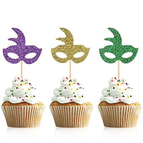 Glitter Masquerade Mask Cupcake Toppers Cake Picks