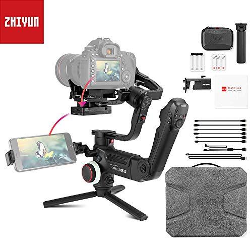 ZHIYUN Crane 3 Lab 3 Axes Handheld Stabilisateur pour DSLR caméras, ViaTouch, Transmission d'images Full HD sans Fil 1080p, Prise en Charge du Zoom et de la Mise au Point simultanées (Noire)