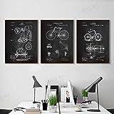 Fvfbd Pizarra Vintage Dibujos de Bicicletas Bicicleta Patente Sala de Estar Pinturas de Pared Deportes Bosquejo Lienzo Sin Marco 50cmx70cmx3 pcs