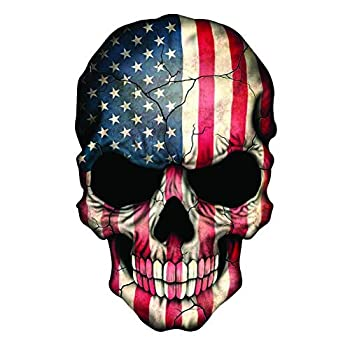 EZ CUT PRO Reflective Punisher Skull American Flag Sticker Decal Sniper Truck Made in USA  2  Tall