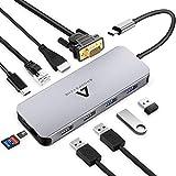 Anoopsyche Hub USB C 10 en 1, Adaptateur USB C Hub vers USB HDMI 4K, USB 3.0/2.0 VGA, PD 100W, Lecteur de Carte SD & Micro SD, RJ45 pour MacBook Pro et MacBook Air Hub