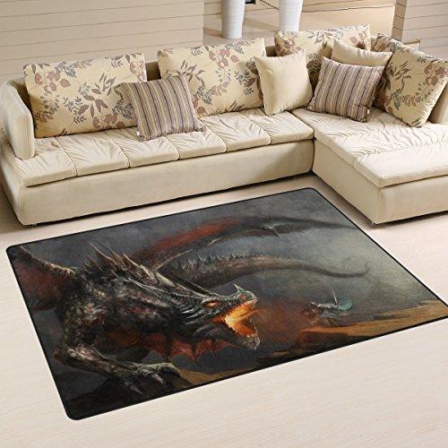 Yibaihe Leichter bedruckter Teppich, dekorativer moderner Ritter Kampf Drache wasserabweisend lichtbeständig für Wohnzimmer Schlafzimmer 153 x 100 cm (60 x 39 in)