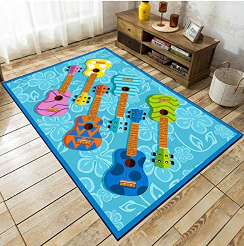 Alfombra Geometría Pequeña Guitarra Fresca Impreso Alfombra Kindergarten Gateando Aprendizaje Yoga Alfombra Adecuado Para Dormitorio Sala De Estar Dormitorio Cocina Corredor Decoración 100Cm * 160Cm