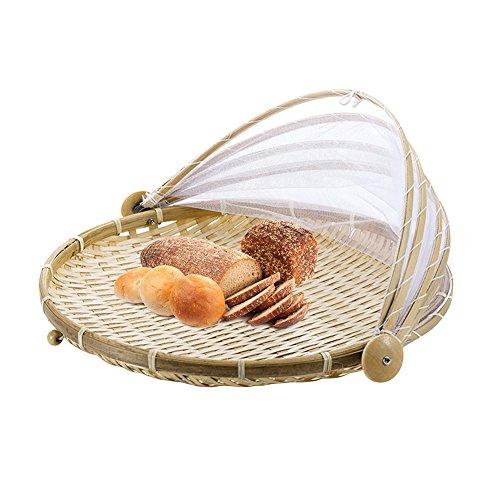 CampHiking®-Cover-Hand-Woven Korb von, schützt die Speisen und Getränke, Bugs Staubdicht Brot-Korb Picknickkorb mit Gaze -