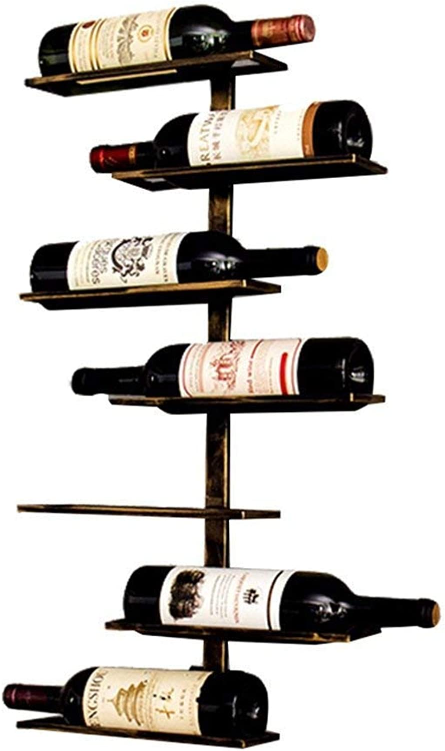 Industrial Style Creative Home Wrought Iron Wall Hanging Wine Rack, Hanging Wine Cabinet, Shelf, Wine Display Stand, 7 Bottles