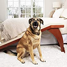 PetSafe CozyUp Bed Ramp - Durable Wooden Frame Supports up to 120 lb - Furniture Grade Wood Pet Ramp with Cherry Finish - High-Traction Carpet Surface - Great for Older Dogs and Cats