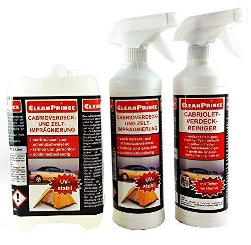 CleanPrince Cabriolet Reinigung und Imprägnierung Set CP600240|enthält 2,5 L Cabrioverdeck- und Zelt-Imprägnierung sowie 0,5 L Verdeckreiniger | Reinigungsmittel für Stoffverdecke Zelte Outdoor