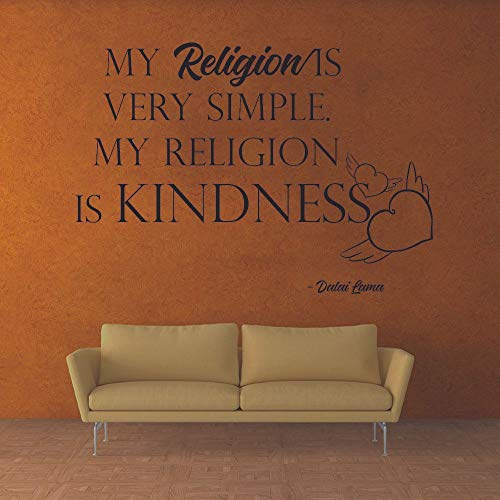 My Religion is Kindness - Dalai Lama Religious Religion Quotes Christ Saying Inspirational Wall Decal Wall Art Design Stickers for Girls/Boys Home Room Decor Vinyl Wall Sticker Decoration (8x10 inch