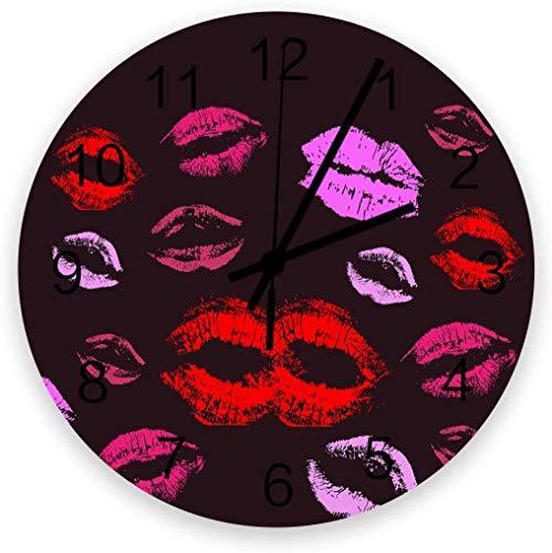 Reloj de pared de madera silencioso de 30,48 cm para mujer, sexy, de cuarzo, color rosa y rojo, reloj de pared moderno para la oficina, sala de estar o dormitorio