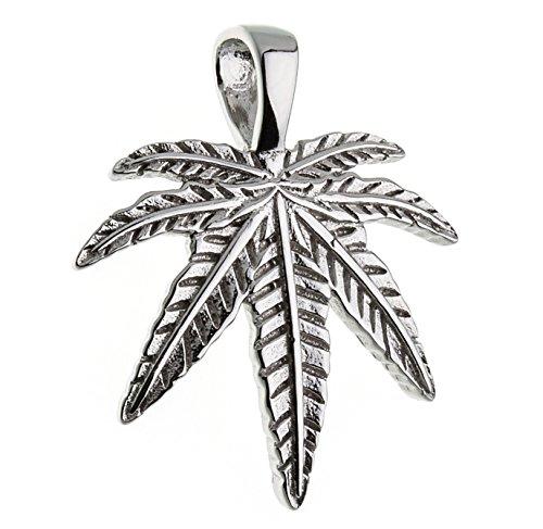 Anhänger Hanfblatt, Cannabisblatt Marihuana - echt 925 Silber