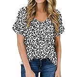 ABINGOO Camisetas de Manga Corta para Mujer Leopardo Blusas Tops de Túnica T Shirt con Color Patchwork (Blanco-1,XXL)