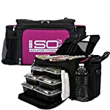 Meal Prep Lunch Box ISOBAG - Large Insulated 6 Meal Prep Bag/Cooler With 12 Containers, 3 Ice Packs & Shoulder Strap (Black/Fuchsia) - MADE IN USA