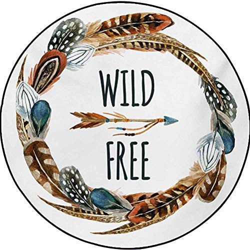 Feather Polyester Home Decorator Carpets for Laundry Room Decor Watercolor Wreath Bird Feathers Circle with an Arrow Wild and Free Concept Brown Orange Blue 6 ft in Diameter