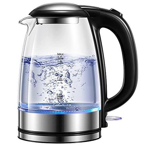 Glas Wasserkocher, 2200W Elektrischer Wasserkocher mit LED-Beleuchtung, 1.7L Schnelle Aufheizung Glaskessel, Abschaltschutz & Trockenlaufschutz, Innendeckel und Boden aus Edelstahl, Kalkfilter.