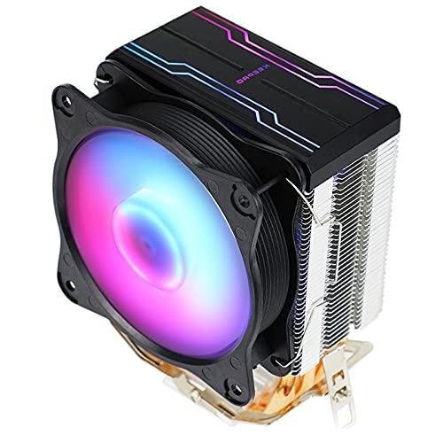 H HILABEE Enfriador de CPU Desmontable Ventilador de Torre de enfriamiento ARGB LED Ventiladores de 9 cm 4 Heatpipes Alto Rendimiento Bajo Nivel de Ruido para