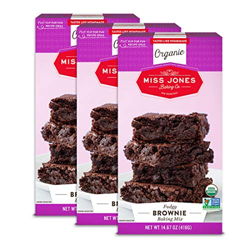 Miss Jones Baking Organic Fudge Brownie Mix, Non-GMO, Vegan-Friendly: Rich Cocoa (Pack of 3)