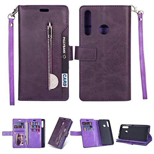LWL House Caso para Samsung Galaxy M30 / Galaxy A40S Multifuncional con Cremallera Horizontal Flip Funda de Cuero con Soporte y Billetera y 9 Tarjetas Slots & Lanyard (Color : Purple)