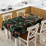 Mantel con Estampado de Hojas, Mantel Rectangular de plástico, patrón de Cuadros, tapete para Mesa de Centro, W140x200cm