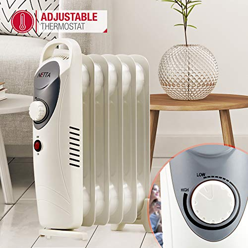 NETTA 800W Oil Filled Electric Heater Radiator with Thermostat – 6 Fin