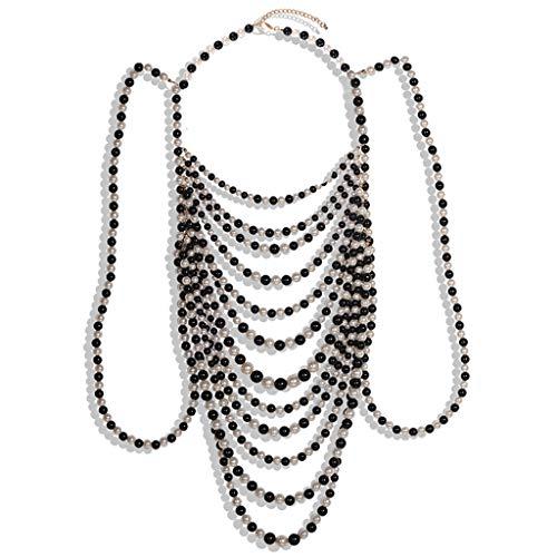 XuHang - Collar con cadena de perlas de imitación de imitación para mujer, para primavera, otoño, invierno