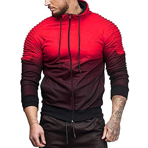 MORCHAN Automne Hiver Long Hommes Manches de Splicing Fold Haut à Capuche Chemisier Survêtements(X-Large,Rouge)