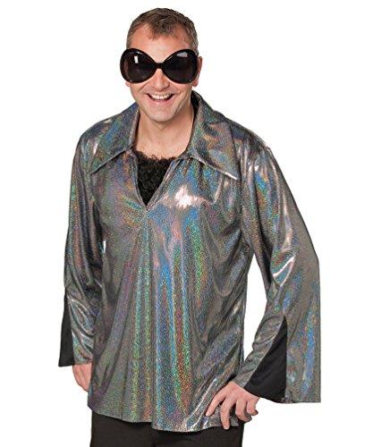 Karneval-Klamotten Disco-Hemd 80er Jahre Herren-Hemd Schlagerhemd Glitzerhemd Silber sc hwarz Party Herrenkostüm