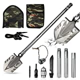 Survival Shovel Military Folding 33 Inch Camping Shovel Multifunctional Snow Removing and Outdoor Emergency Tactical Shovel with Storage Pouch for Hiking Backpacking Emergency Garden etc