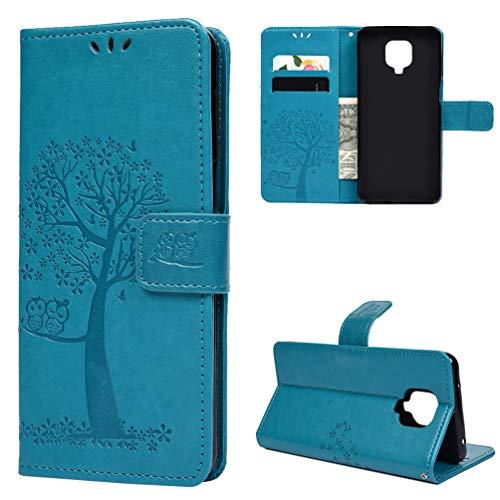 Niocase Hülle für Redmi Note 9 pro, Premium Leder Flip Schutzhülle mit Kartenschlitz und Magnetic Snap Brieftasche Handyhülle für Redmi Note 9 pro Tasche - Blau