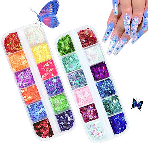 3D Holographic Butterfly Nail Glitter, UVANKAUP 24 Colors Butterfly Glitter Nail Sequins Laser Butterfly Nail Art Glitter Stickers Decals Acrylic for Nail Art Decoration & DIY Crafting