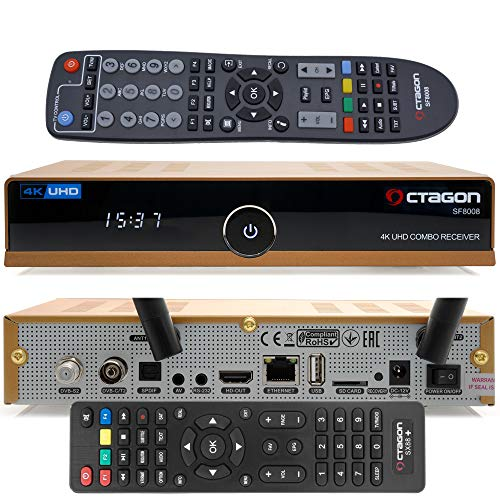 OCTAGON SF8008 4K UHD HDR HEVC Limited Gold Edition Hybrid DVB-S2X & DVB-C/ DVB-T2 Tuner - Satellit, Kabel & terrestrische Signal, inklusive Zweitfernbedienugn, EasyMouse HDMI-Kabel & Dual WiFi