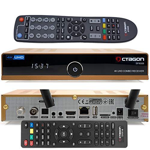 OCTAGON SF8008 4K UHD HDR Limited Gold Edition Hybrid DVB-S2X & DVB-C/ DVB-T2 - Sintonizador por satélite, cable y señal terrestre, incluye mando a distancia, cable HDMI y WiFi dual
