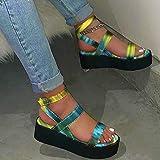 Sandalias de Plataforma para Mujer Sandalias con cuña de Verano Recorte Resbalón de Verano en Sandalias de cuña Baja y Ligera Zapato Sandalias,Verde,38