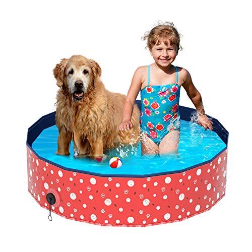 Plegable Bañera Mascotas, Luckits Portátil Piscina para Perros Resistente a rayones Mascotas Perros PVC Natación Piscina para Perros para gatos, perros, mascotas, niños, interior, exterior, 120x 30 cm