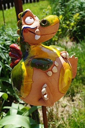 TB Keramik Drache Grisu grün Gartenstecker Frostfest Tierfigur Handarbeit Dekofigur