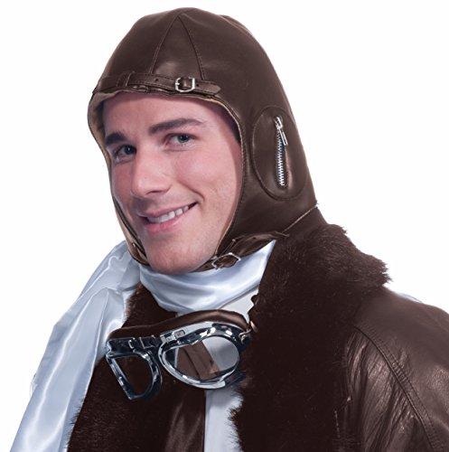 Forum Novelties Deluxe Aviator Airplane Flight Black Costume Helmet