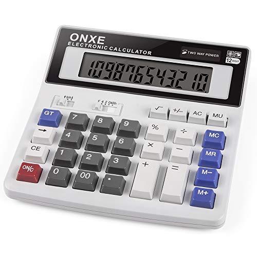 Calculadoras, escritorio Oficina 12 dígitos Pantalla estándar Calculadora electrónica científica, botón solar y pilas AA (blanco)