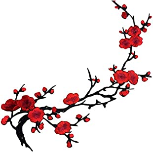 1pcs Applique Motif Craft Lovely Embroidered Plum Blossom Flower Patch Iron(Red)