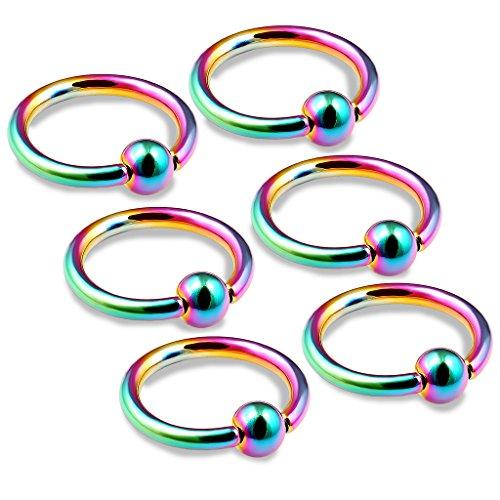 bodyjewellery Juego de 6 Anillos DE 16 g para Cartílago de Cejas, Cejas, septo, Triple Mirada hacia Delante de Helix Rainbow BCR, Tamaño de Púa