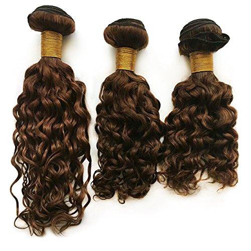 Mila 3 Bundles Colour 4# Mittel Braun Echthaar Tressen Lockig 100% Human Hair Weave Jerry Curl Brazilian Remy Haarverlängerungen (10