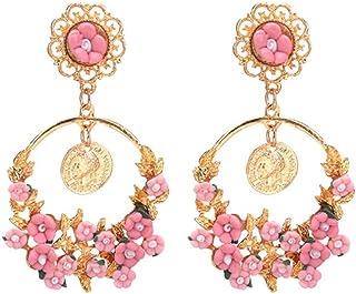 Women's Earrings, Vintage Idyllic Fresh Flowers Big Ring Earrings, Suitble Everydaily Tassel Earrings