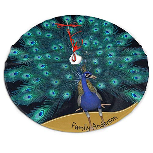 ASO-SLING Winter Christmas Tree Skirt Mat Named Peacock Christmas Printed Tree Decor Carpet for Farmhouse Family Home Holiday Christmas Tree Decoration 30/36/48 Inch