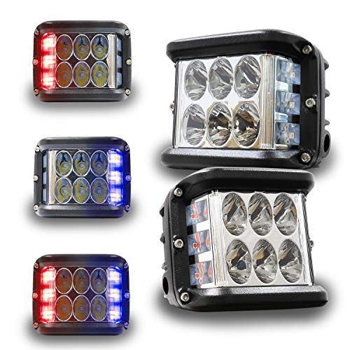 4 Inch LED Pod Lights, HOYUZA Side Shooter LED Lights with Red & Blue Dual Color Strobe Cree Pods for Farm Tractor Plow Truck ATV UTV 4x4