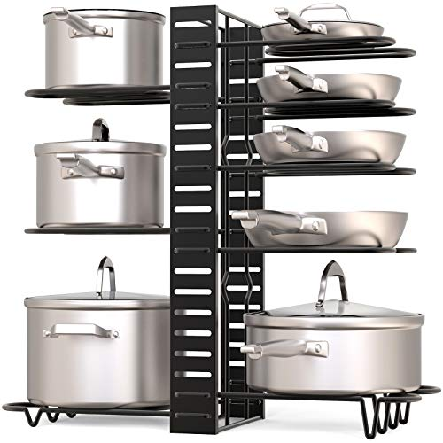 GeekDigg Pot Rack Organizer under Cabinet, 3 DIY Methods, Height and Position are Adjustable 8+ Pots Holder, Black Metal Kitchen Cabinet Pantry Pot Lid Holder (Upgraded Version)