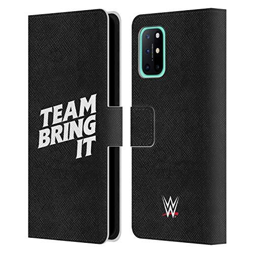 Head Case Designs Licenciado Oficialmente WWE Equipo audaz Bring It La Roca Carcasa de Cuero Tipo Libro Compatible con OnePlus 8T 5G